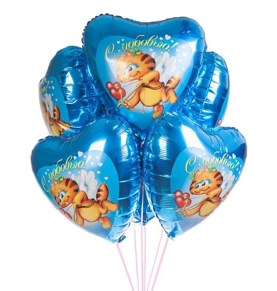 Букет шаров Кот-купидон (7 или 15 шаров)