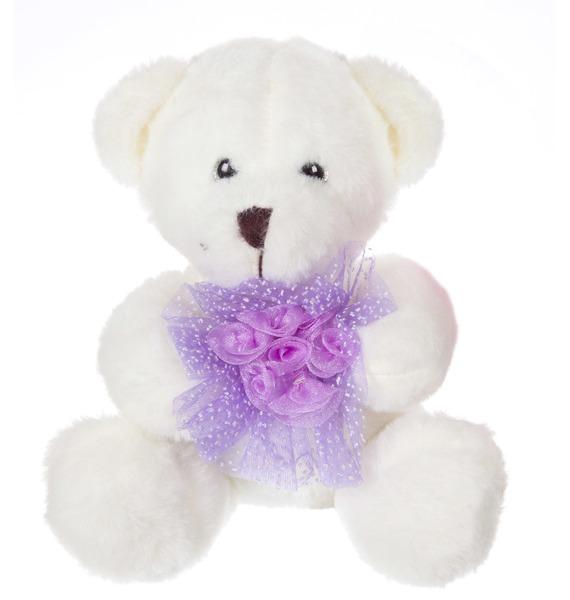 """Мягкая игрушка """"Медвежонок с цветком"""" (24 см)"""