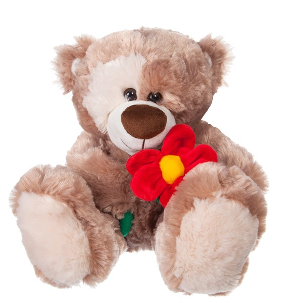 Мягкая игрушка Мишка Зиновий с цветком (31 см)