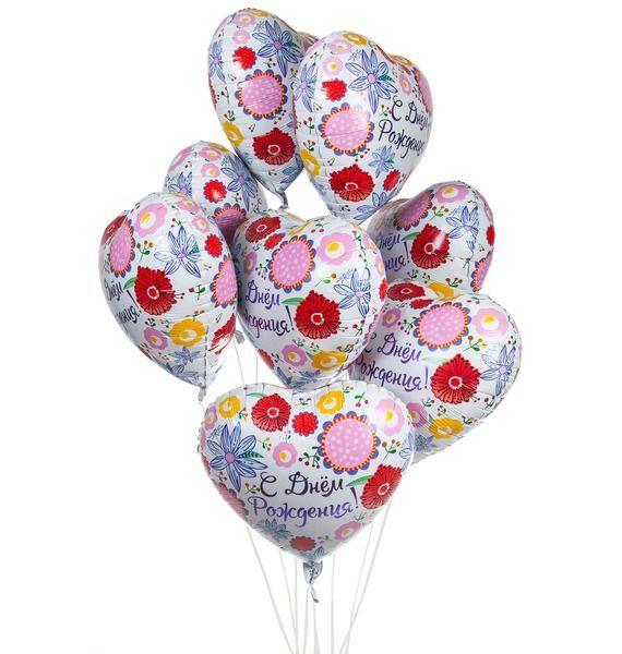 Букет шаров С Днём Рождения! (9 или 18 шаров) букет шаров россия 9 или 18 шаров