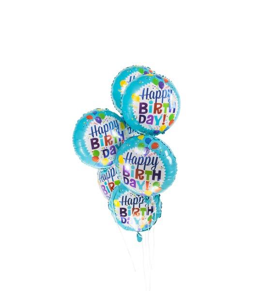 Букет шаров С Днём Рождения! (Разноцветные шарики) (7 или 15 шаров) кукла весна мальчик 43 см в3147