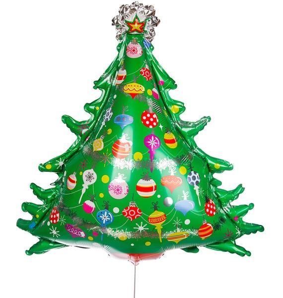 Воздушный шар Новогодняя елка (97 см) воздушный шар поросенок с игрушкой 79 см