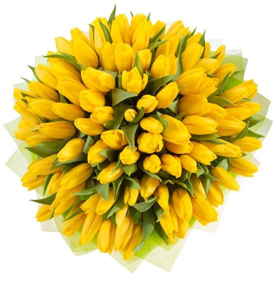Букет из тюльпанов Солнечный сюрприз (25, 51, 101) – фото № 4
