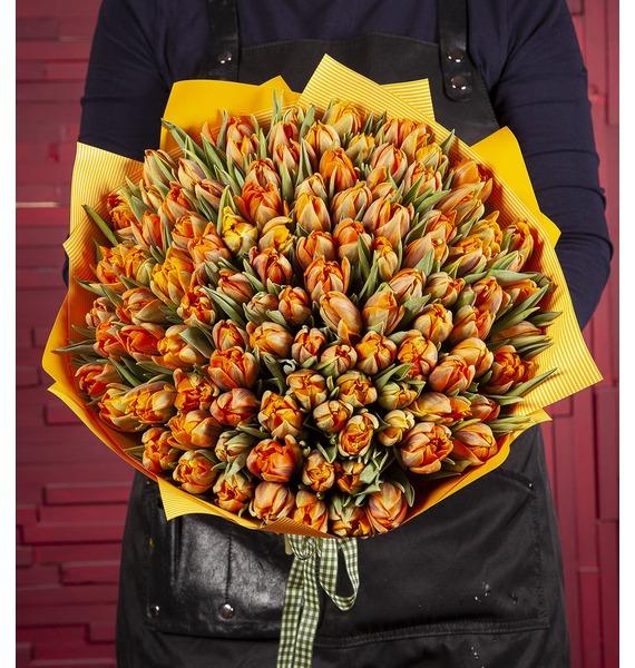 """Букет-соло """"Тюльпаны Orange Princess"""" (15,25,35,51,75,101 или 151)"""