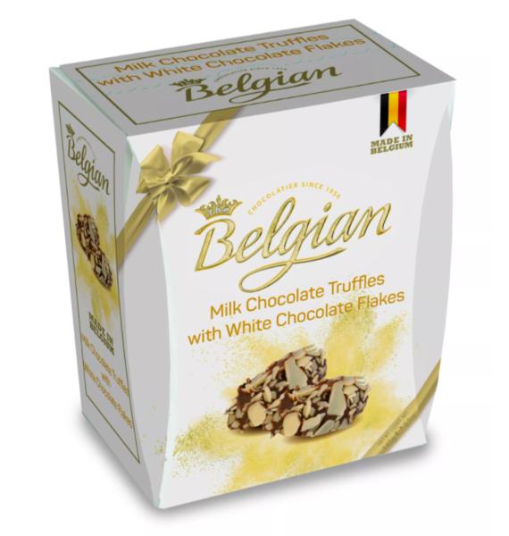 три шоколада Трюфели The Belgian из молочного шоколада в хлопьях из белого шоколада