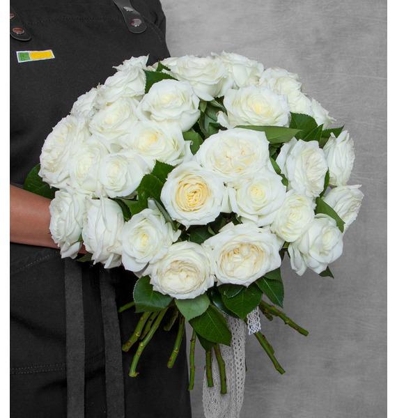 Букет из пионовидных роз Alabaster (15, 25 или 51) цена