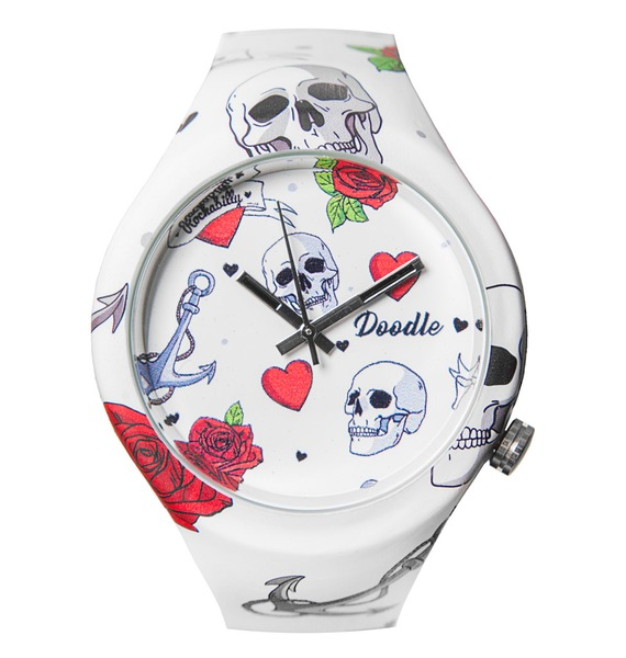 Часы Doodle Сердце и череп часы doodle белый череп