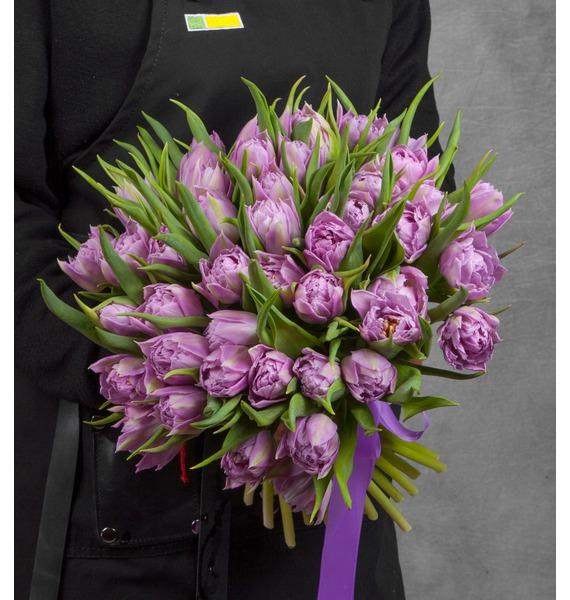 Букет из пионовидных тюльпанов Double Price (25, 51 или 101) букет из тюльпанов солнечный сюрприз 25 51 101