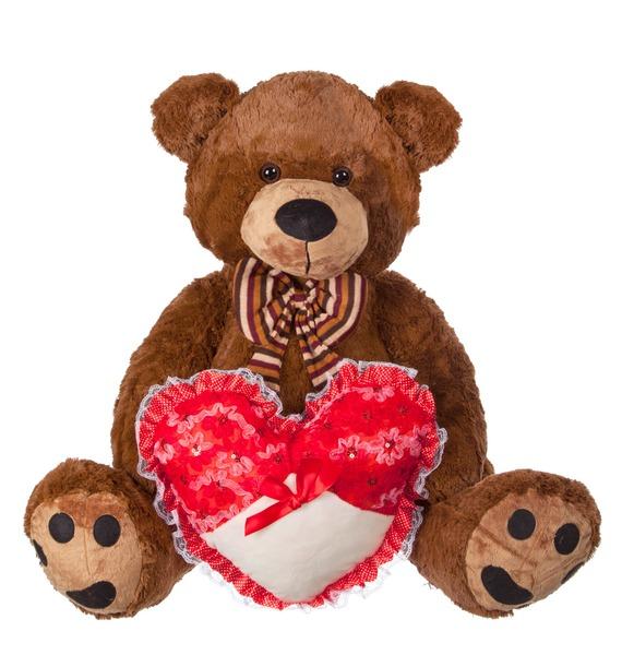 Мягкая игрушка Медведь с бантом и с сердцем (60 см)