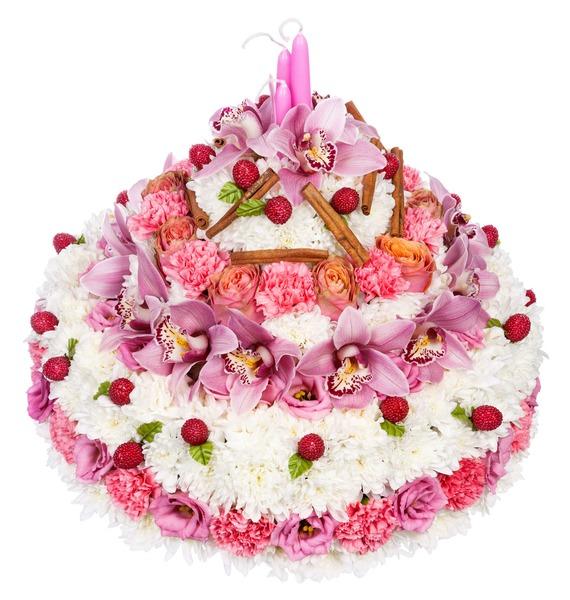 Композиция Цветочный торт черемушки творожно йогуртовый торт 630 г