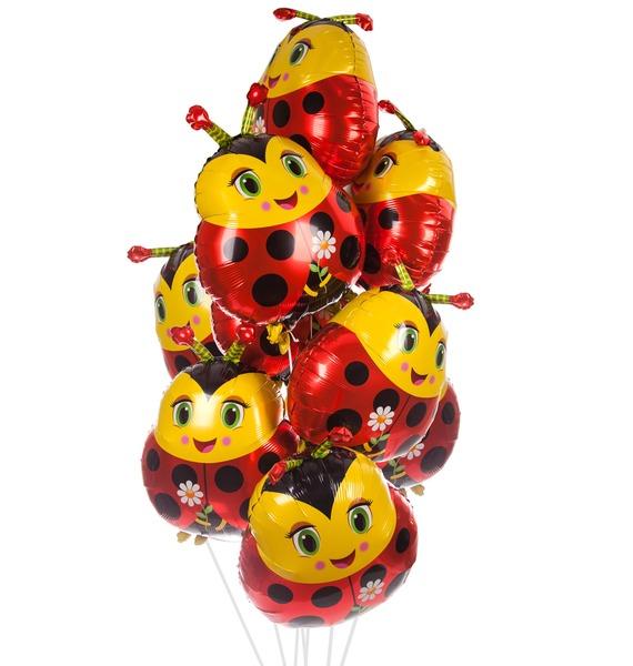 Букет шаров Божья коровка (7 или 15 шаров)