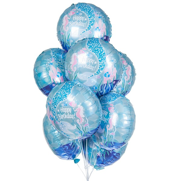 Букет шаров С Днём Рождения! (Русалочка) (9 или 18 шаров) букет шаров россия 9 или 18 шаров