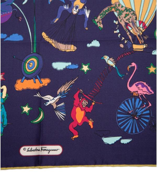 Шелковый платок Salvatore Ferragamo Цирк (Италия, 65х65 см) – фото № 2