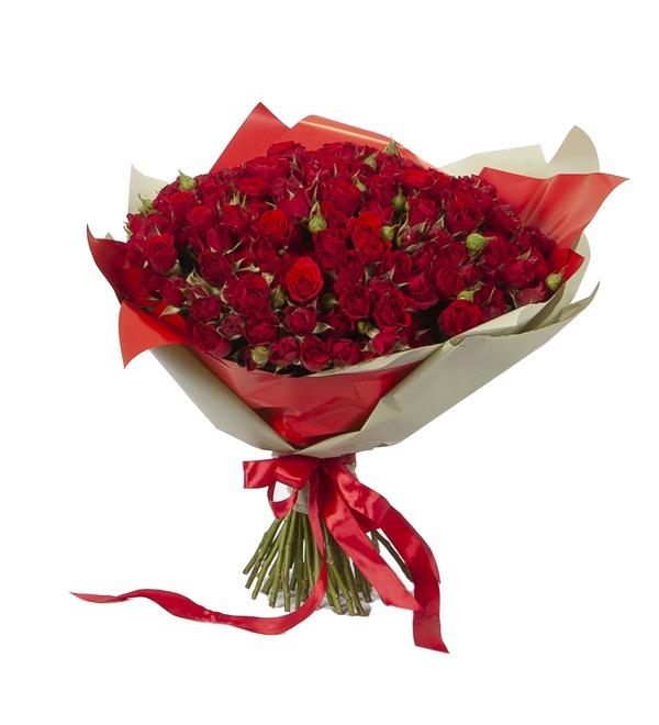 Букет-соло Красные кустовые розы (15,25,35,51,75 или 101) – фото № 4