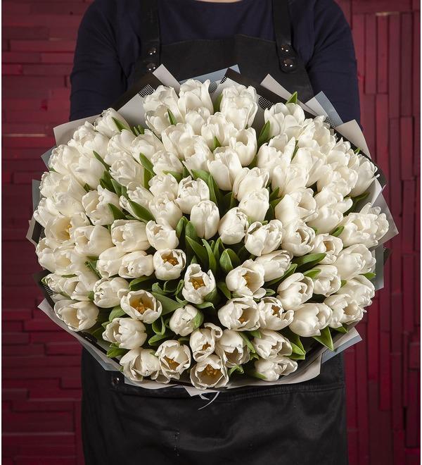 Букет-соло Белые тюльпаны (15,25,35,51,75,101 или 151) – фото № 1