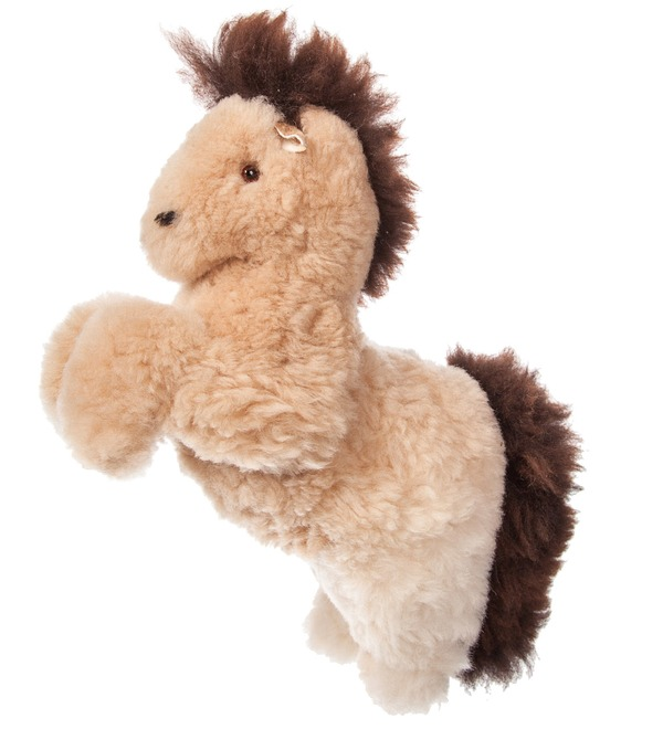 Toy from natural fur Horse (cream) – photo #1