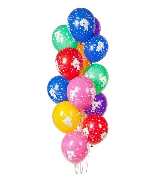 Букет шаров С Днём Рождения! (Плюшевый мишка) (15 или 31 шар) – фото № 1