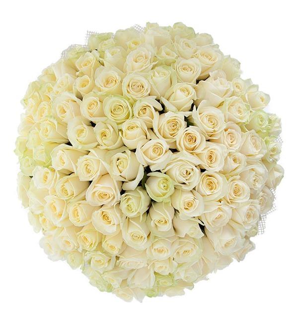 Букет из 101 белой розы Белое солнце – фото № 4