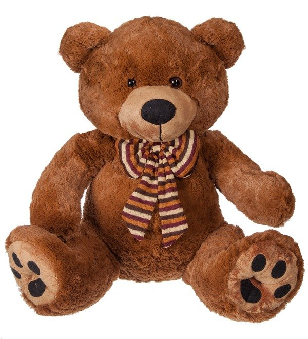 Soft toy Bear Chocolate with a bow (50 cm) – photo #1