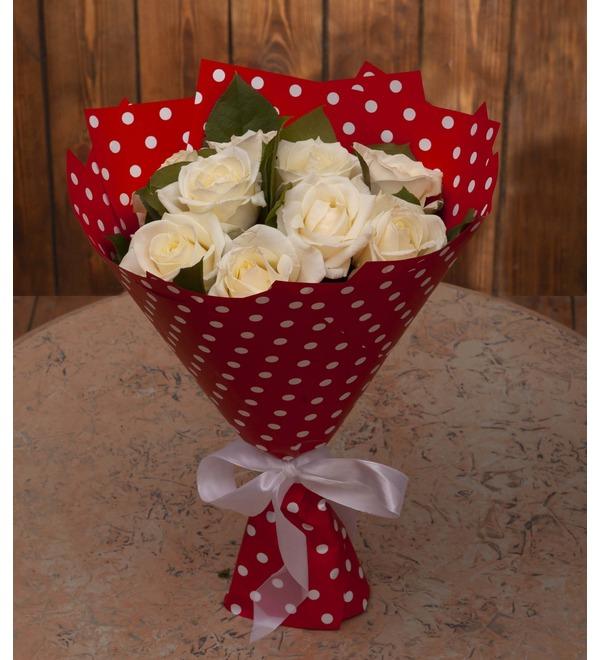 Букет-соло белых роз (9,15,25,35,51,75 или 101) – фото № 1