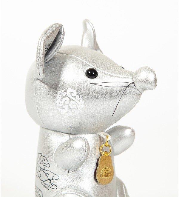 Игрушка из эко-кожи Мышка (Серебряная) – фото № 3