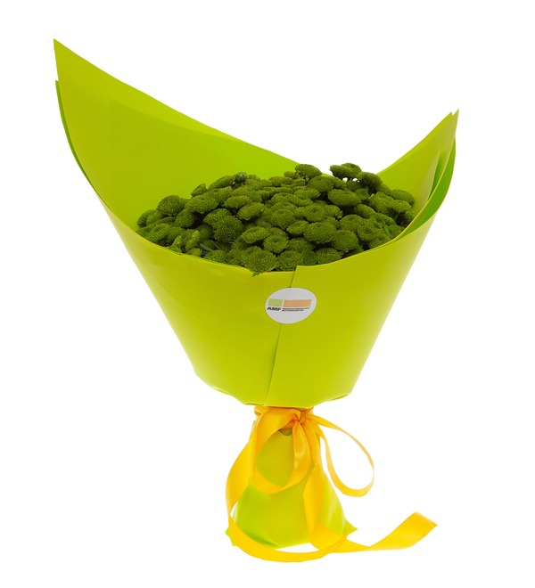 Букет-соло зелёных хризантем (15,25,35,51,75 или 101) – фото № 4