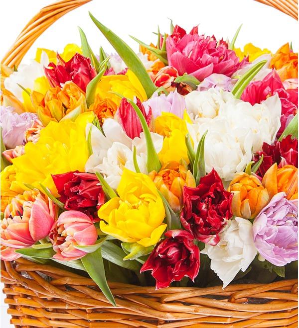 Композиция из разноцветных пионовидных тюльпанов (25, 51 или 101) – фото № 2