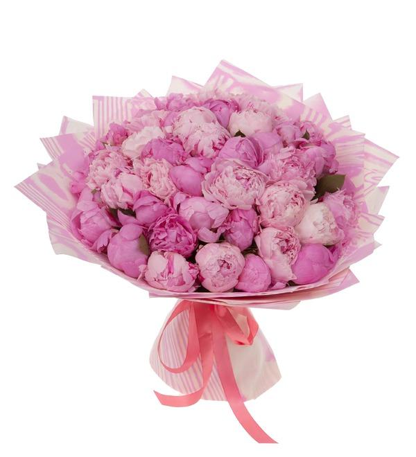 Букет-дуэт Розовые пионы (15,25,35,51,75,101 или 151) – фото № 5