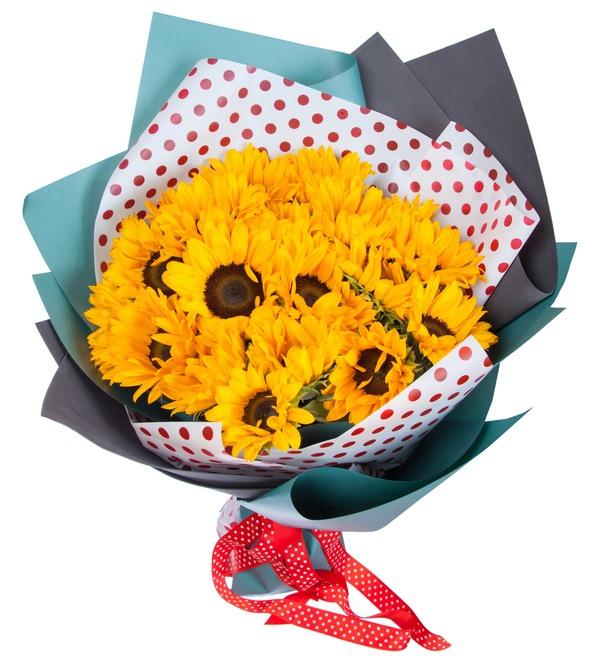 Букет Солнечный привет (19, 27 или 35 подсолнухов) – фото № 5