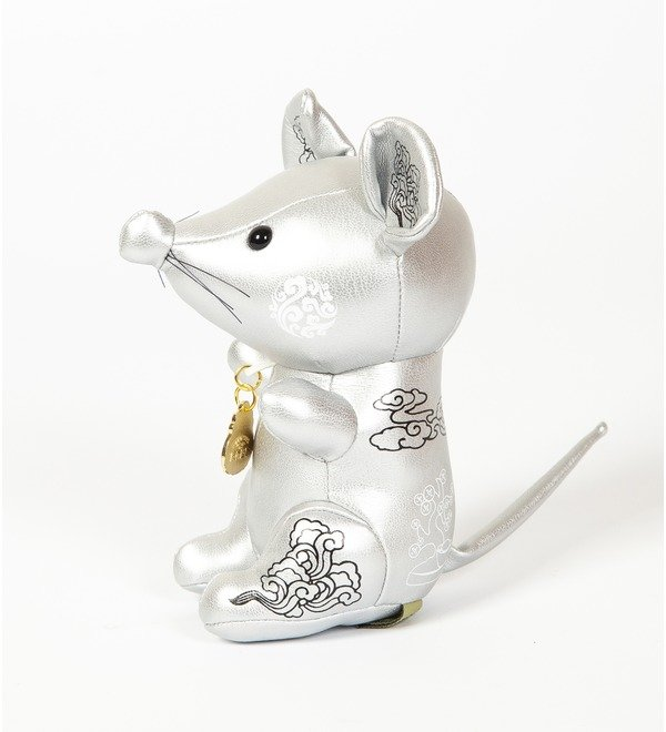 Игрушка из эко-кожи Мышка (Серебряная) – фото № 4