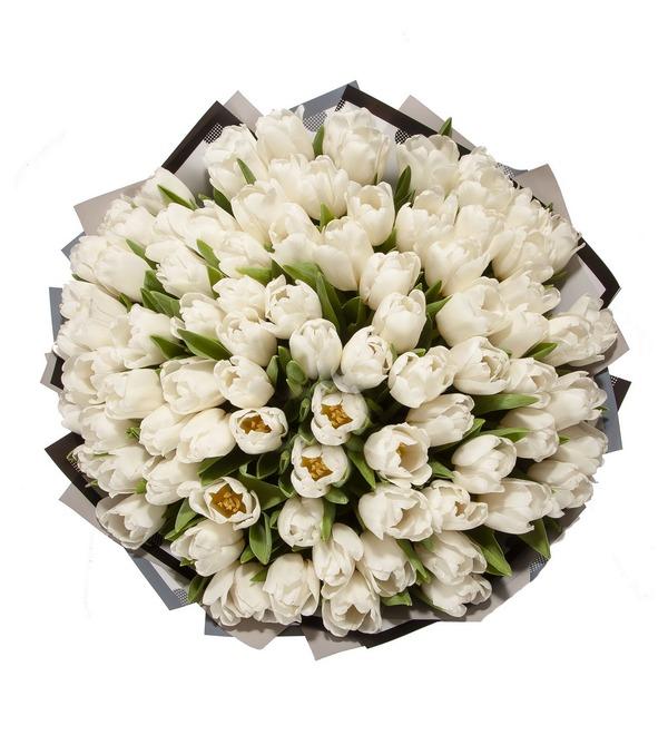 Букет-соло Белые тюльпаны (15,25,35,51,75,101 или 151) – фото № 4