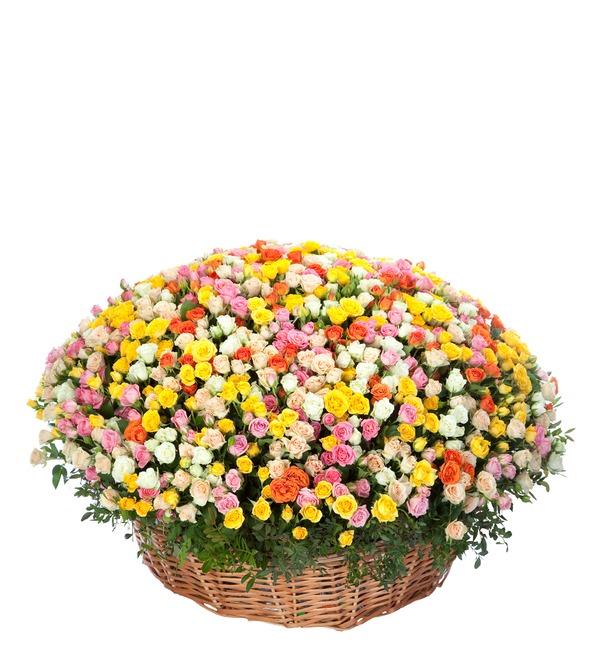 Композиция из кустовой розы (101, 251 или 501 роза) – фото № 1