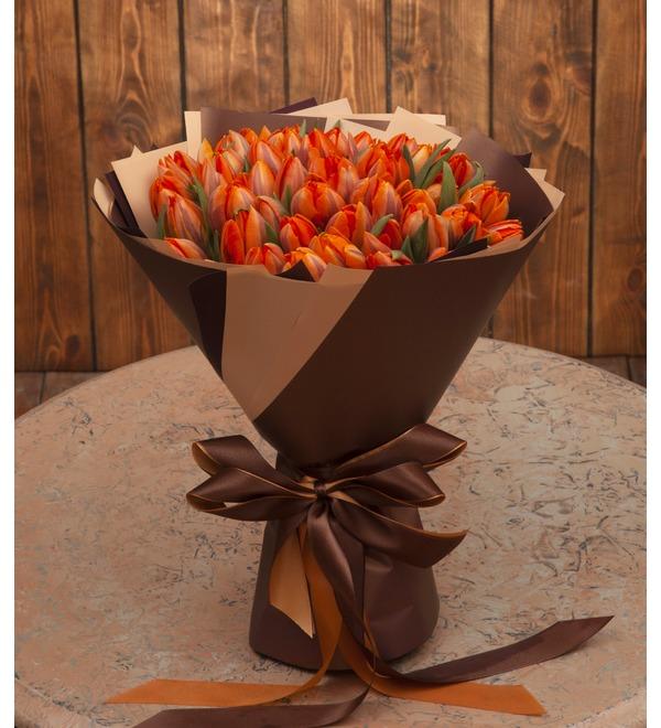Букет-соло Тюльпаны Orange Princess (35,51,75,101 или 151) – фото № 1