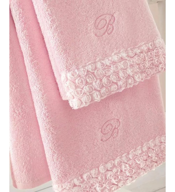 Set of 2 towels with volume roses – photo #1