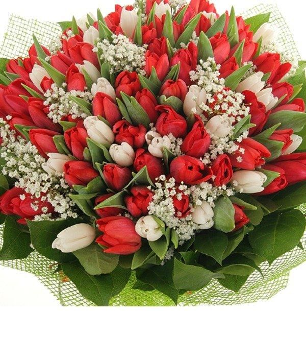 Букет из 151 тюльпана Горячее танго – фото № 4