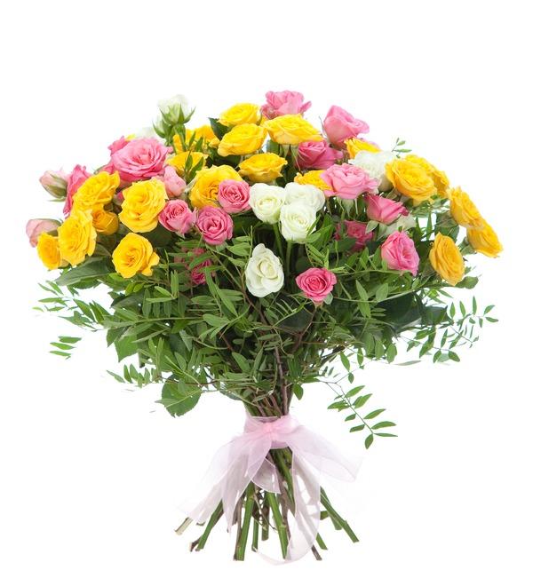 Букет из 15 кустовых роз Пушинка – фото № 2