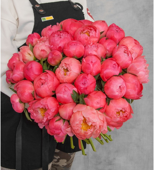 Bouquet-solo of peonies Coral Sunset (15, 29 or 51 peonies) – photo #1