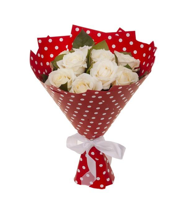 Букет-соло белых роз (9,15,25,35,51,75 или 101) – фото № 4