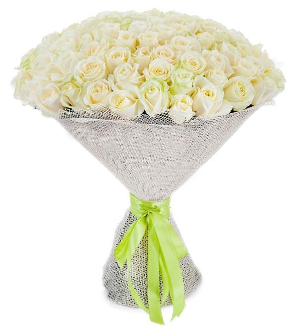 Букет из 101 белой розы Белое солнце – фото № 2