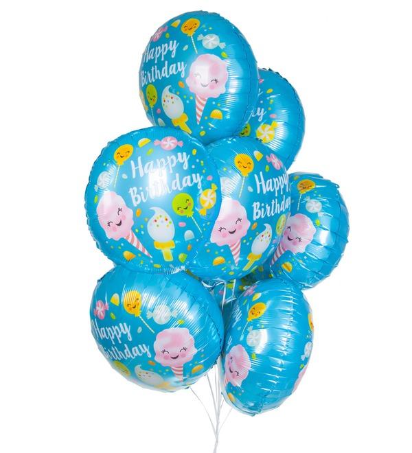 Букет шаров С Днём Рождения! (Сладости) (7 или 15 шаров) – фото № 1