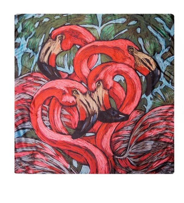Шёлковый платок Страстный фламинго (Н. Леоновой) – фото № 1