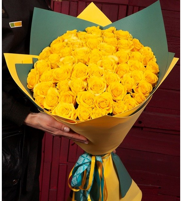 Bouquet-solo Yellow roses (25.51.75 or 101) – photo #1