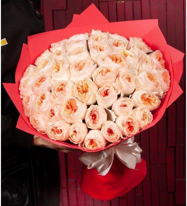 Букет-соло пионовидных роз David Austin Juliet (15,25,35,51,75 или 101) – фото № 1