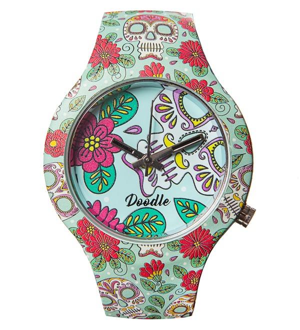 Часы Doodle Цветы и черепа – фото № 1