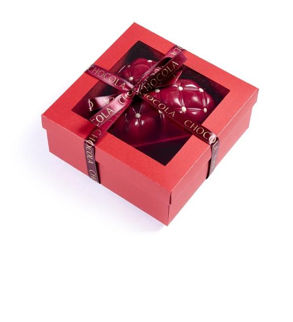 Сердце из бельгийского шоколада с шоколадным драже внутри – фото № 3