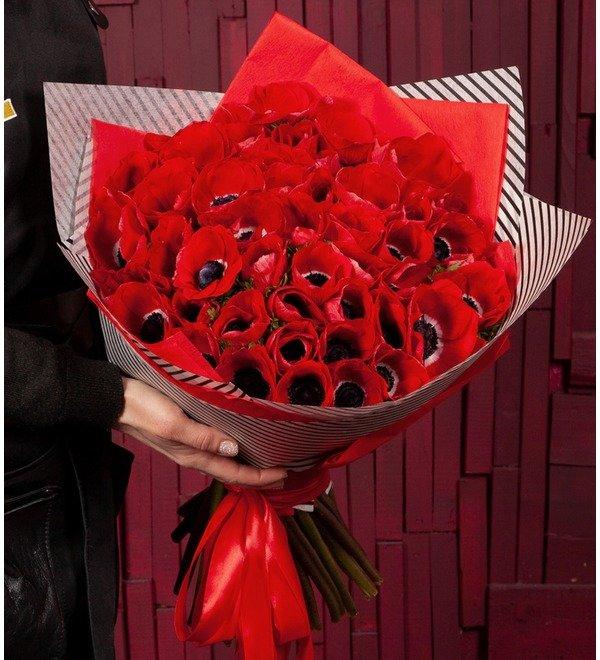 Букет-соло Красные анемоны (15,25,51 или 75) – фото № 1