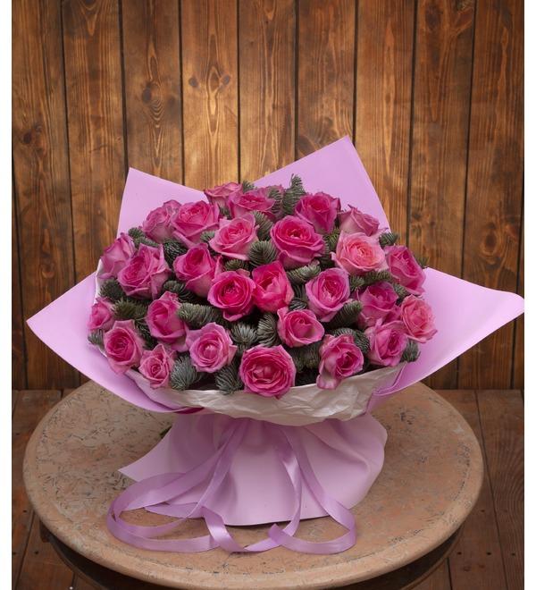 Букет-соло розовых роз (15,25,35,51,75 или 101) – фото № 1
