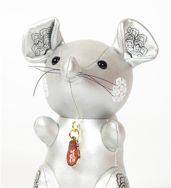 Игрушка из эко-кожи Мышка (Серебряная) – фото № 2
