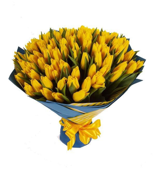 Букет-соло Тюльпаны Strong Gold (25,35,51,75 или 101) – фото № 5
