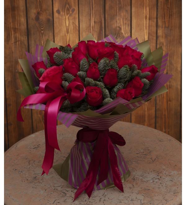 Букет-соло роз Вишневый аромат (15,25,35,51,75 или 101) – фото № 1